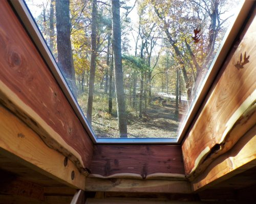 view from Dogwood Primitive Cabin loft